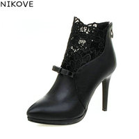 NIKOVE Autumn White Wedding Shoes 2016 Sexy Women Boots Lace Thin High-Heel PU Ankle Boots Pointed Toe Bow Tie Boots Size 34-42