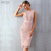 ADYCE Summer Women Bandage Dress Vestidos Verano 2019 New Tank Sexy Lace Mesh Sleeveless Bodycon Clubwears Celebrity Party Dress