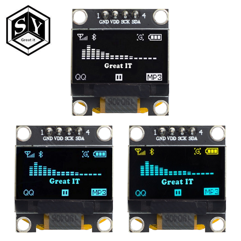 Gran producto IT 0,96 pulgadas OLED IIC blanco/amarillo azul/azul 12864 Módulo de pantalla OLED I2C SSD1306 monitor de pantalla LCD para Arduino Módulos de LCD    - AliExpress