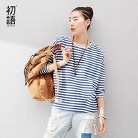 Toyouth Vrouwen T-Shirts Batwing Lange Mouwen Gestreepte Patroon O-hals Casual t-shirt Vrouwelijke Tees Katoen Elegante Dames Tees Tops