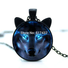 CN-00758 2017 New hot New Nordic Wiccan Wolf Necklace Wiccan Wolf Pendant Jewelry Glass Photo Cabochon Necklace