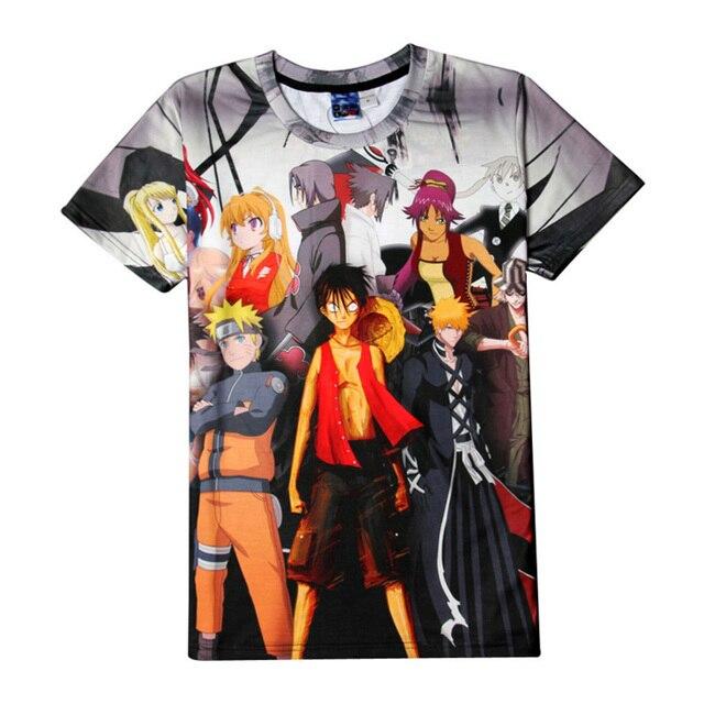 1e1aea57991 Deadpool One Piece Naruto Dragon Ball Bleach Luffy Print T-shirts Women  Men's Summer Casual
