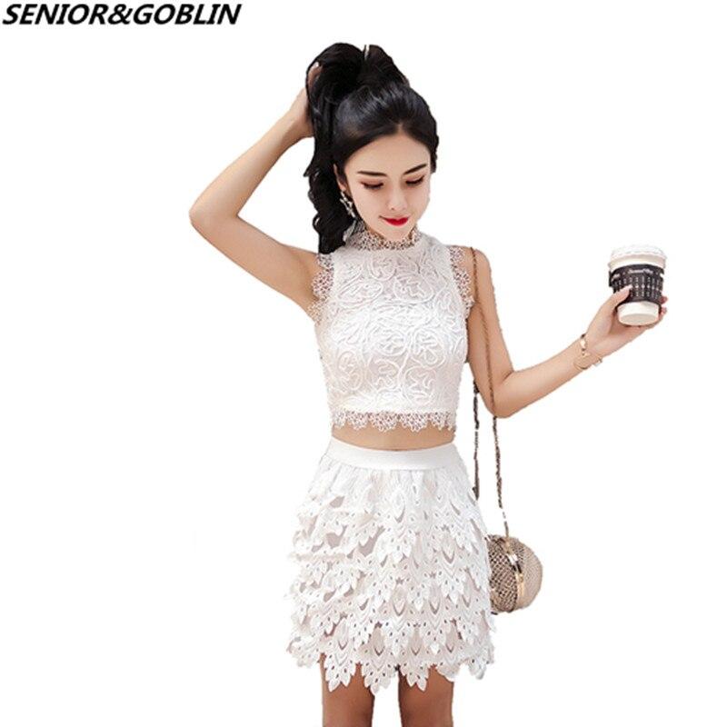 Us 19 78 32 Off 2019 New Summer Runway Lace 2 Piece Set Designer Women White Short Sexy Crop Top Mini High Waist Short Skirt Blend Suits In
