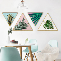 Green plant triangular painting wall pictures for living room framed wall art canvas bathroom accessories anime poster