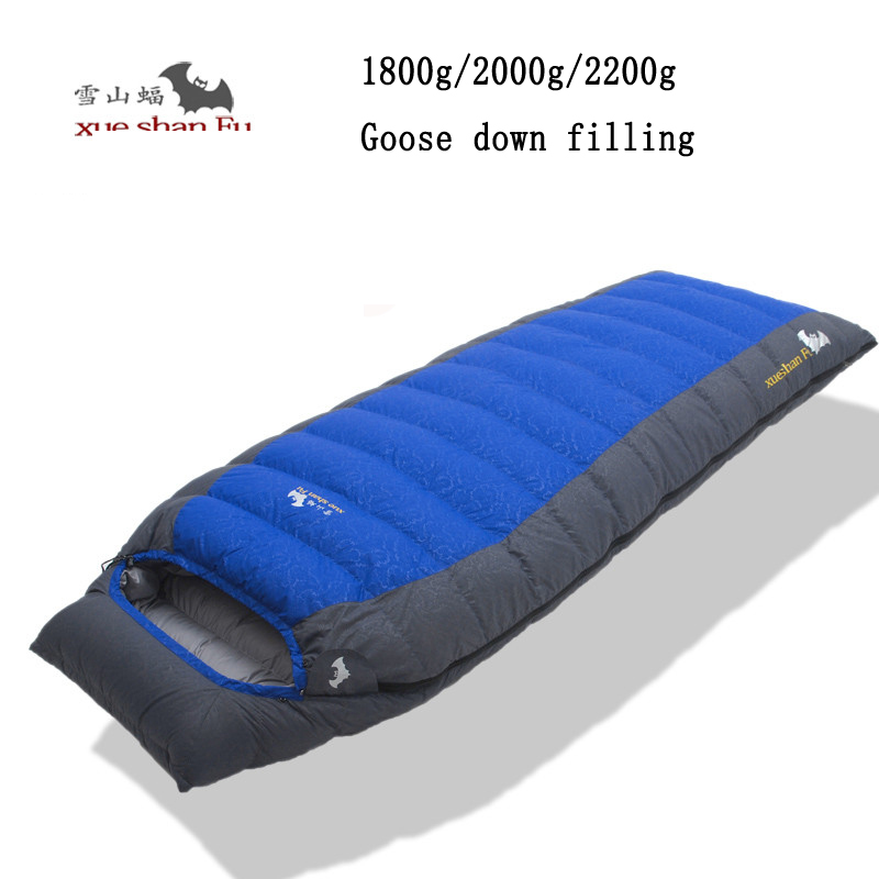 Xueshanfu 1800/2000/2200g white goose down filling outdoor camping comfortable breathable sleeping bag