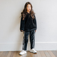 2018 Autumn and Winter New Girl Suit Silver Fox Velvet Kids Coat and Pants Leisure Thickened Warm Baby Set Kid Clothes Set,#3686