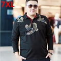Plus size men's clothing  winter thermal top plus velvet thickening fat print turn-down collar long-sleeve T-shirt