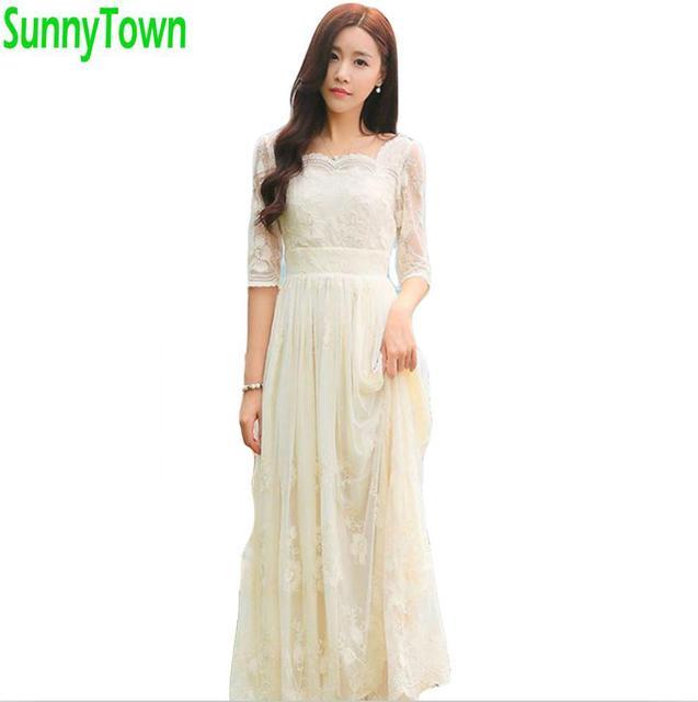 Kwaliteit lente herfst lange zomer kant jurken vrouwen bloem geborduurde maxi dress vintage tulle party borduren dress wit