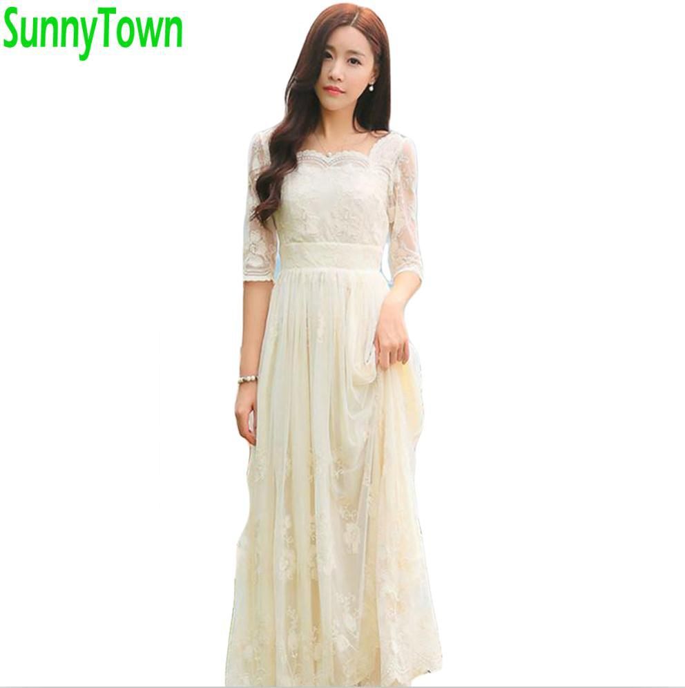 Quality spring women long summer lace dresses flower
