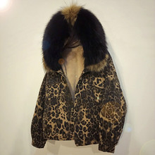 Women Lambs Wool Denim Jacket Female Leopard Thick Winter Cotton-padded Coat