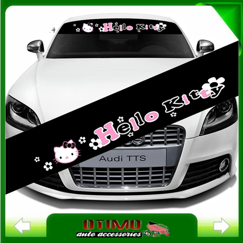 Car styling reflective cartoon hello kitty sticker front windshield decal car stickers for decorations accessories car decals