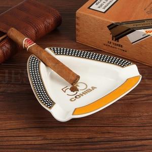 Image 5 - COHIBA Cigar Gadgets Home Cigar Ashtray Portable Ceramic 3 Cigars Ash Tray Tobacco Cigarette Ashtrays Holder
