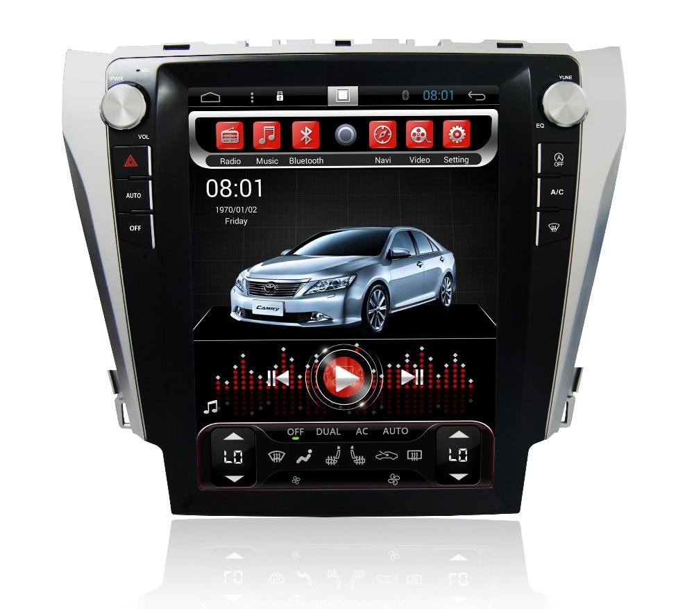 Navirider android 7.1 radio magnétophone 4-Core 2 gb RAM 32 gb ROM tesla écran vertical pour Toyota Camry 2012-2015 headunits BT