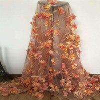 Высокое качество Свадебные оранжевый Индийский платье 3d цветок французский вышитые кружева, тюль для вечерние X462 1
