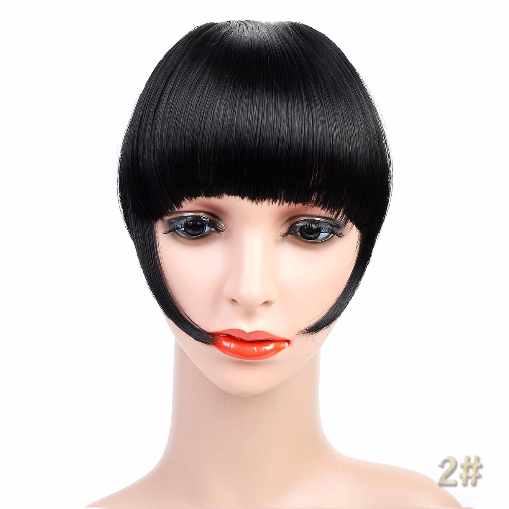 Thick Natural Bangs Clip In on Synthetic Hair Fringe False Hair Bangs Black Brown Blonde Auburn JINKAILI