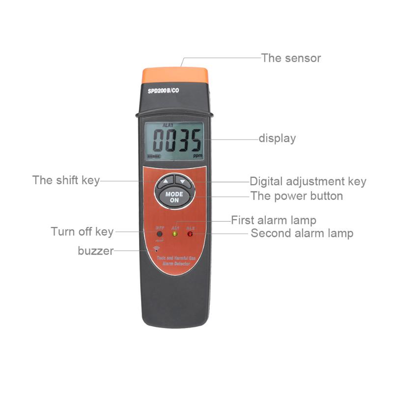 Portable LCD Display 0-1000PPM Carbon Monoxide Detector SPD200 CO Carbon Monoxide Meter Monitor Gas Tester Detector ...