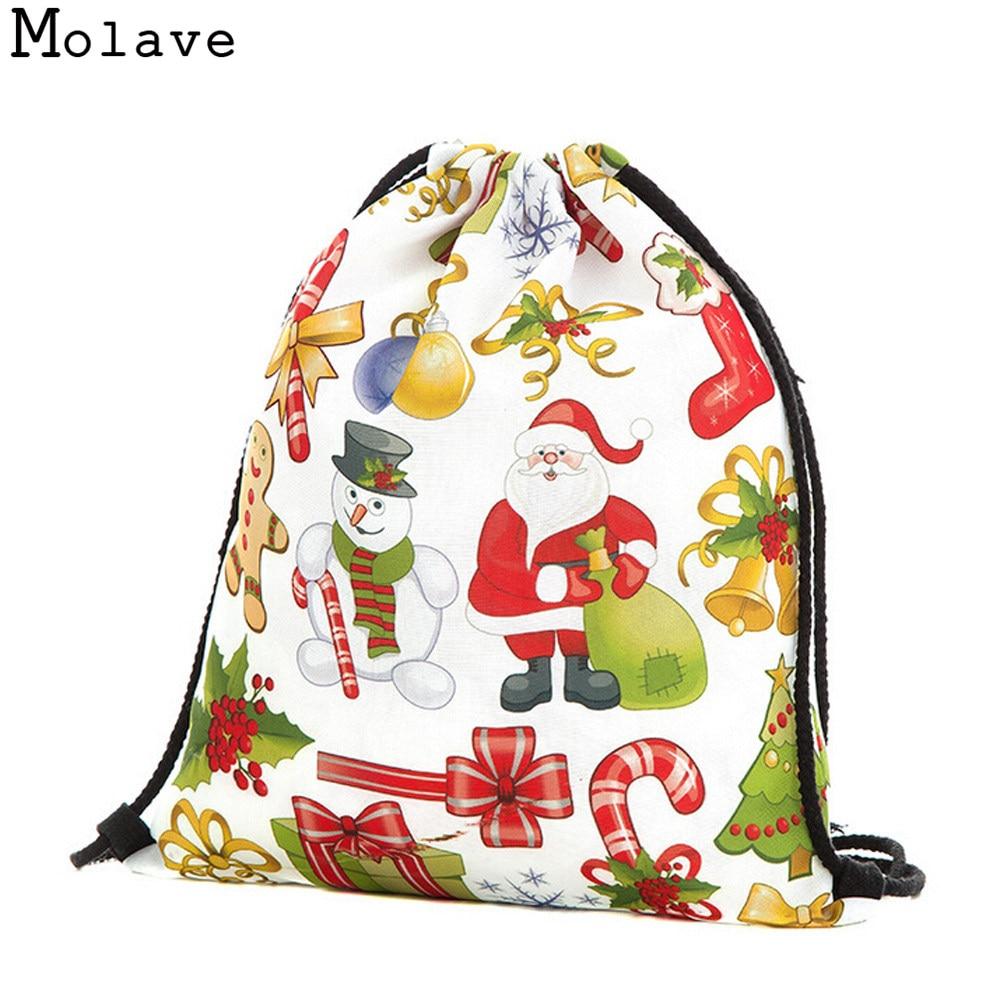 Fashion 3D Print drawstring bags womens backpack Merry Christmas Gift Candy Bag Storage Bag Rucksack Shopping bags NOVE03