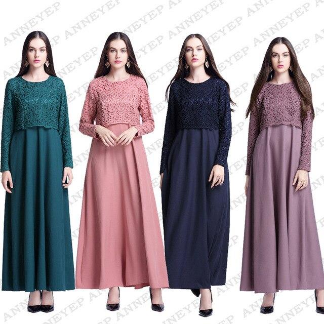 Новая Мода исламская кружева о шеи платье абая кафтан для Малайзии женщин турецкая абая мусульманское платье с длинным рукавом 4 цвета