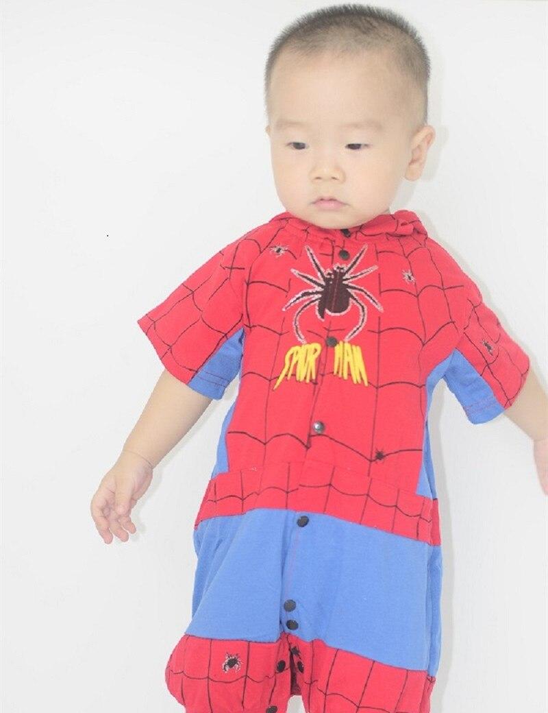 <font><b>Spiderman</b></font> Romper <font><b>Costume</b></font> Halloween <font><b>Costume</b></font> <font><b>Infant</b></font> Baby Jumpsuit Baby Boy Girls One Piece Pajamas Short Sleeve Hooded Sleepwear