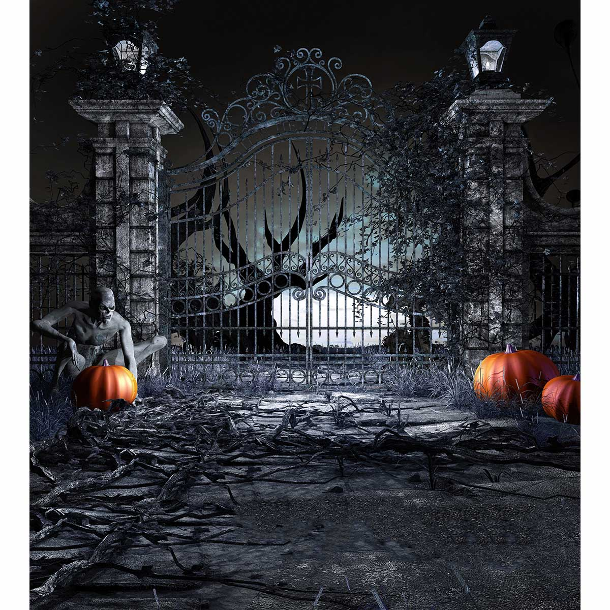 allenjoy photography background dark horrible zombie pumpkin vintage door halloween theme backdrop professional photo studio in background from consumer - Halloween Theme Pictures