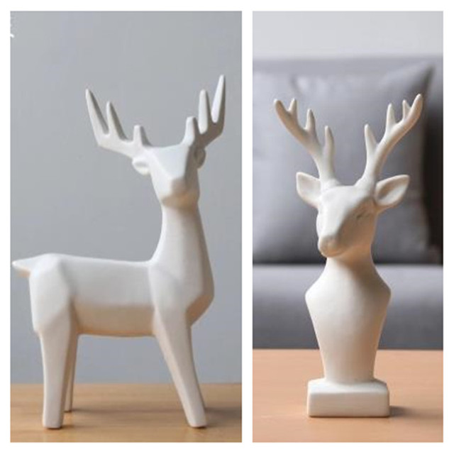 European Minimalist Nordic White Ceramic Deer Head And Elk Animal Crafts Home Decorations