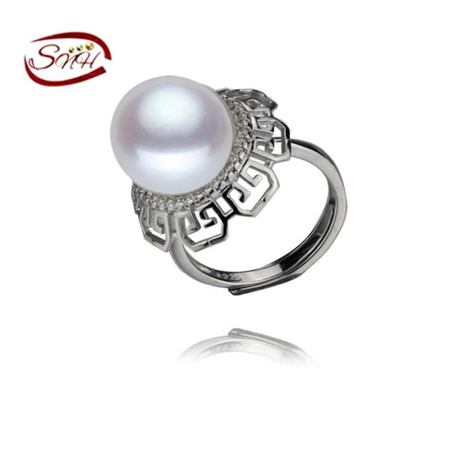 Snh 12mm botón aaa 925 de plata blanco venta caliente anillo de perla natural genuino perlas de agua dulce de la joyería para las mujeres top calidad
