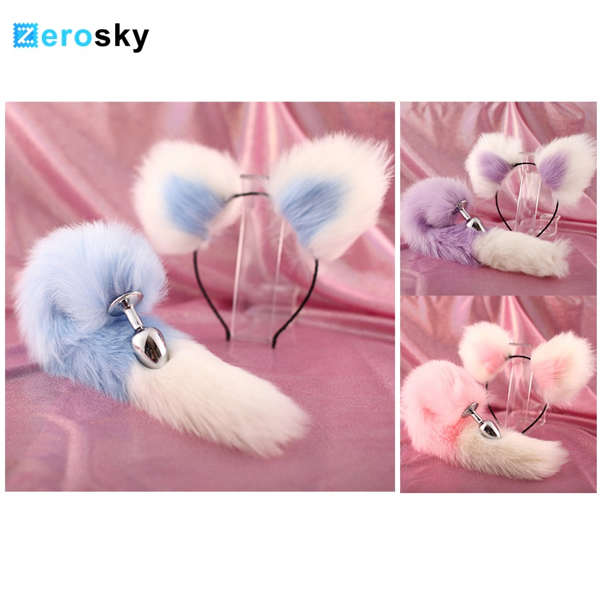 Zerosky Cute Soft <font><b>Cat</b></font> Ears Headbands with Fox Tail Bow Metal Butt Anal Plug Erotic Cosplay Adult <font><b>Sex</b></font> <font><b>Toys</b></font> Product for women image