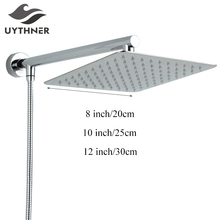 "Uythner Newly Stainless Steel Chrome Bathroom Top Shower Head 8"" Shower Sprayer With Shower Arm Shower Hose Wall Mount"