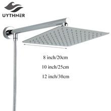 "Uythner حديثا الفولاذ المقاوم للصدأ الكروم الحمام رشاش استحمام علوي 8 ""بخاخ الدش مع دش الذراع دش خرطوم جدار جبل"