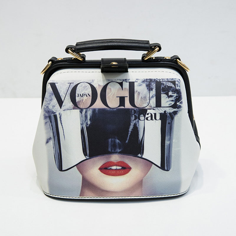 Image 2 - Women Handbag Leather Bag Women's Bags Doctor Small Shoulder Crossbody Bags Cartoon Pattern Rivets Girls Fashion Women Bag-in Shoulder Bags from Luggage & Bags