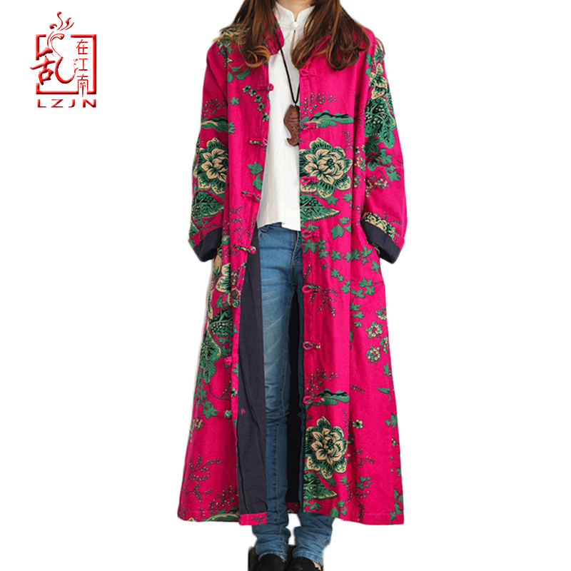 LZJN 2019 Spring Trenchcoat Women Cardigan Floral Long Jacket Cotton Linen Duster Coat Vintage Chinese Windbreaker