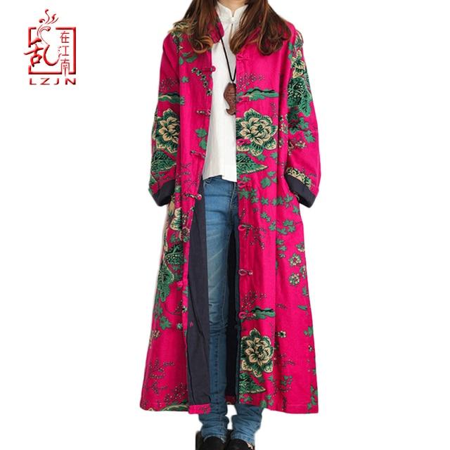 LZJN 2020 Spring Women Trench Coat Floral Long Cotton Linen Duster Coat Vintage Chinese Windbreaker Overcoat