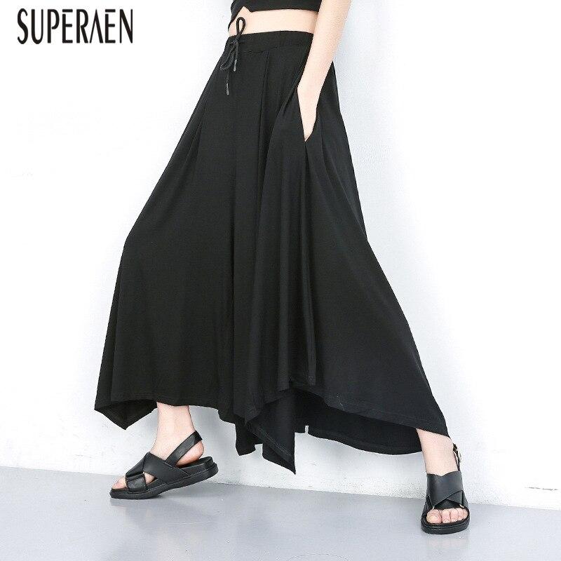 SuperAen 2019 Summer New Elastic Waist Women   Wide     Leg     Pants   Pluz Size Ankle-length   Pants   Female Europe Cotton   Pants