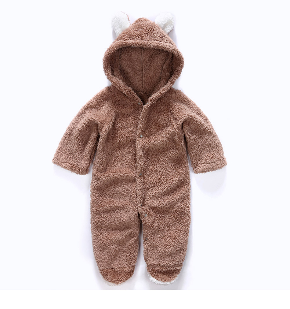 d0c1c8953 Winter Pantyhose Bear Baby Romper Children Coral Fleece Hoodies ...