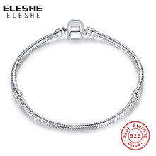 ELESHE autentyczne 100% 925 srebrny łańcuszek żmijka łańcuch bransoletka Fit oryginalne markowe bransoletki i Bangles dla kobiet DIY biżuteria