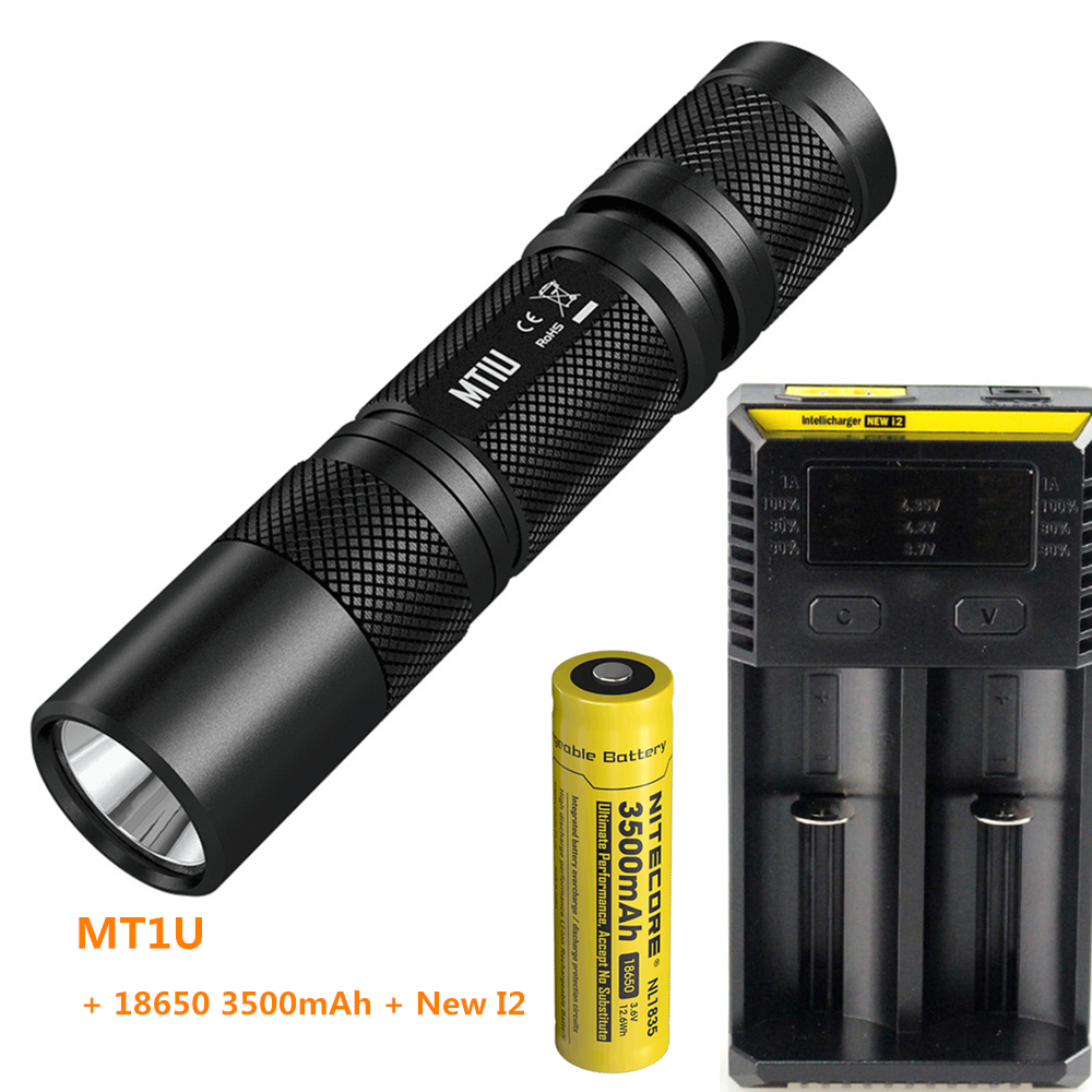 NITECORE MT1U ultraviolet LED 365nm wavelength cold light flashlight UV led torch + 18650 3500mAh battery + New I2 Charger 2018 nitecore gem8uv professional gemstone identification flashlight uv light 3000mw 365nm diamond amber torch without battery