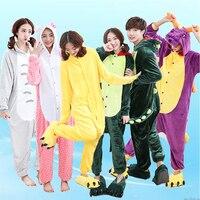 LG Dinosaur Stitch Winter Pajamas For Women Men Warm Flannel Adult Homewear Winter Loungewear Sleep Couple
