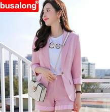 XXL / M Fashion two piece set women suit blazer and short pink ladies office short +jacket elegant plus size business wearing(China)