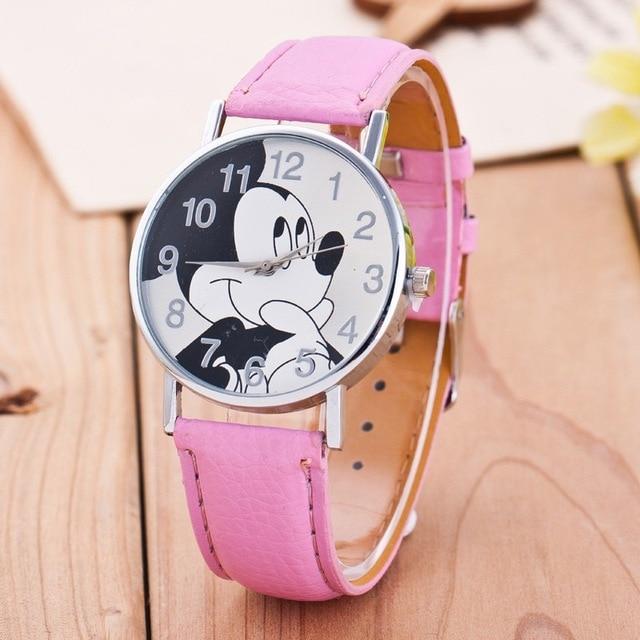 7 Colors Cute Clock cartoon quartz wristwatch children leather watch Mickey watc