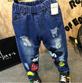 2016 Boys Jeans Cartoon Mickey Casual Denim Pants Spring Autumn soft cartoon Mickey cotton denim jeans for boys girls pants 2-7Y