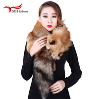 Real fur scarf full skin red fox scarfs shawl women soft super big gray silver fox men scarves anime Couple's gift L15