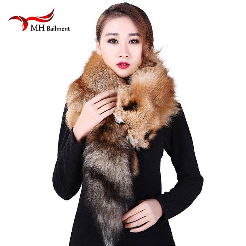 selezione premium a0416 f92a8 US $120.09 25% di SCONTO|Reale della sciarpa della pelliccia di pelle pieno  di volpe rossa sciarpe dello scialle delle donne morbido super grande ...