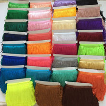 2 yards/lot 15 Cm Polyester Tassel Fringe Encryption Double Thread Lace Trimming for Latin Dress Curtain Fabric Accessories Diy(China)