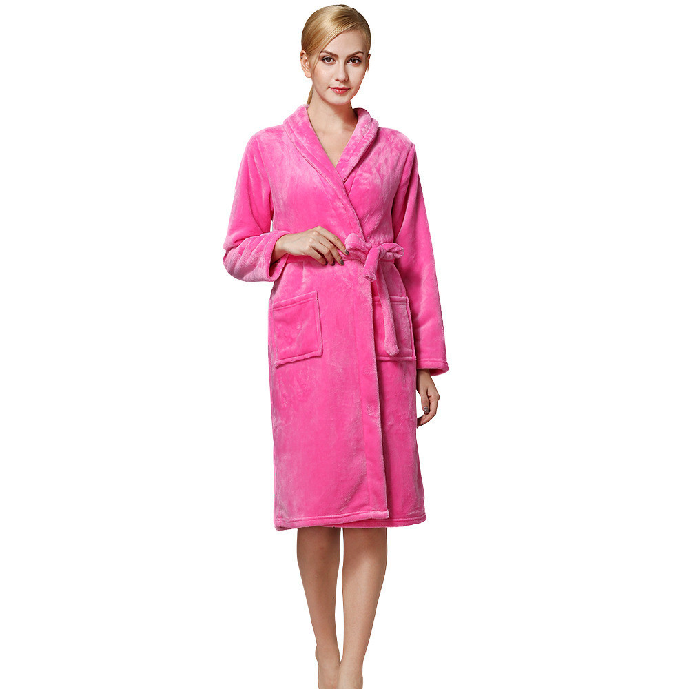 Hot Sale dressing robe Flannel Warm Long Bathrobe Women Dressing Gown peignoir satin femme Freeshipping #BY30