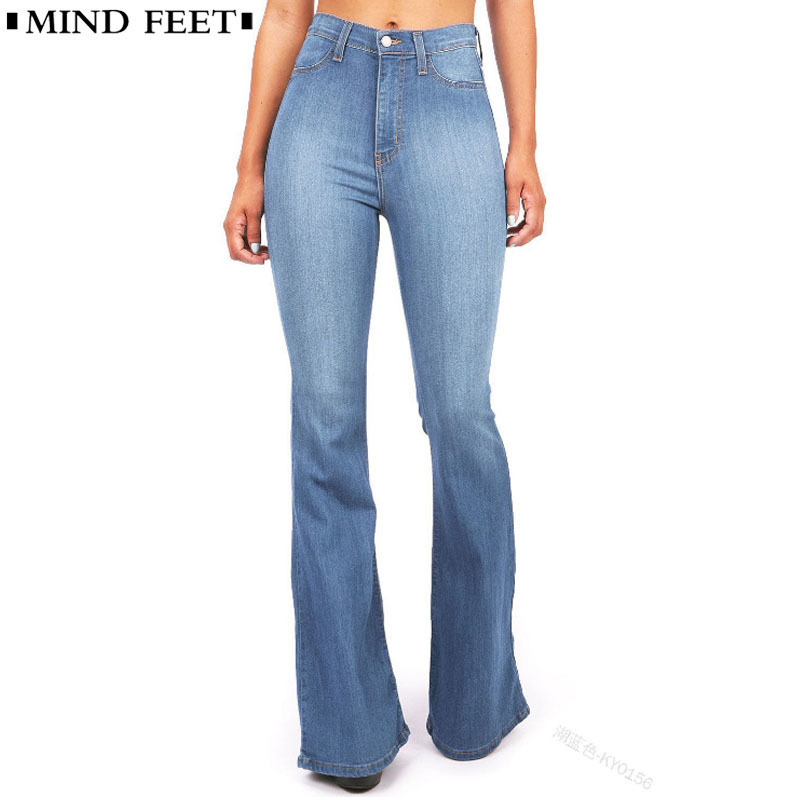MIND FEET Women Flared   Jeans   High Waist Elegant Retro Style Bell Bottom Skinny Denim Pants Female Sexy Casual Wide Leg   Jeans