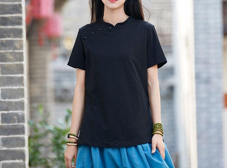 Romantisch Zomer & Lente Zwart/wit Korte Mouw Vrouwen Katoen & Linnen Tai Chi Pak Zen Nun Shirts Lag Uniformen Wushu Kung Fu T-shirts