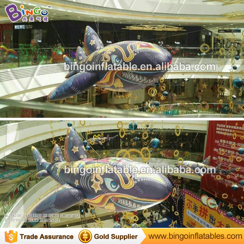 EXQUISITE CRAFT 2 5M inflatable shark balloon star marking large shark toy hanging decoration ocean theme item customized