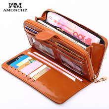 New Fashion Women Wallets Oil Wax Leather Ladies Purses Multifunctional Practical Designer Long Wallet For Female Daily Clutches bvlriga women wallet nubuck leather long purses card holder women clutches fashion wallets money purses 2017 new clutches women