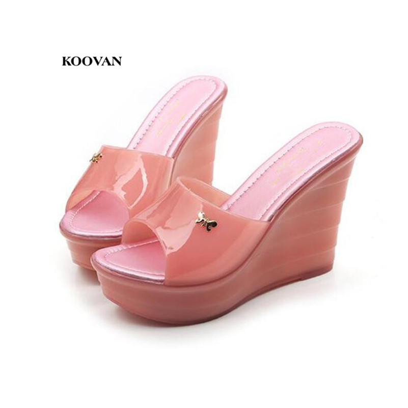 Koovan Womens Sandals 2018 Summer New Fashion Wear Indoor  Wedge Thick-bottom Jelly Plastic High-heeled Women SlippersKoovan Womens Sandals 2018 Summer New Fashion Wear Indoor  Wedge Thick-bottom Jelly Plastic High-heeled Women Slippers