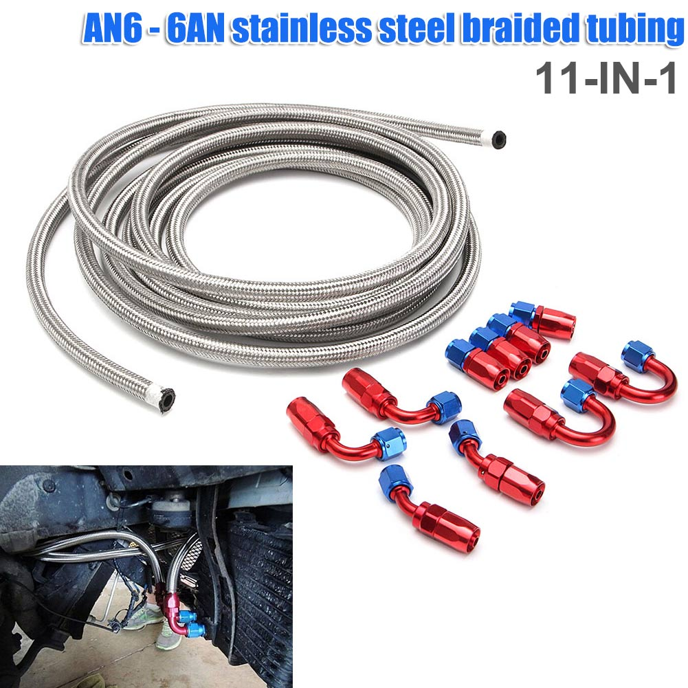 11 Pcs/set AN6 6AN 6m Stainless Steel Braided Oil Fuel Line Fitting Hose End Adapte ALI8811 Pcs/set AN6 6AN 6m Stainless Steel Braided Oil Fuel Line Fitting Hose End Adapte ALI88